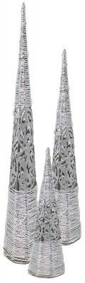 tris alberi conici in metallo con luci 40/60/80 cm argento decorazioni di stelle