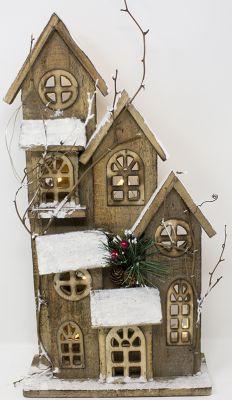 casetta marrone con piu piani con rami e tetto innevato paesaggio natalizio 10 luci 42 cm