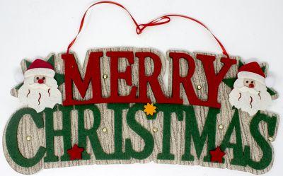 merry christmas  rosso e verde 42 cm in feltro con babbo natale
