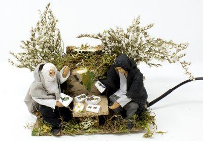pastori che giocano a carte scene per presepe gia ambientate in movimento 14x9cm