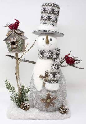 pupazzo di neve con casetta e uccellini decorazioni di natale 35cmx19cmx53 cm