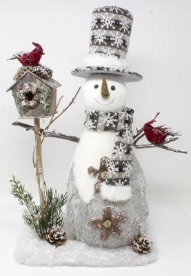 pupazzo di neve grande addobbato con casetta uccelli e decorazioni 30 cm