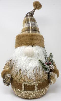 babbo natale paglia con capello e decorazioni scozzese 56 cm