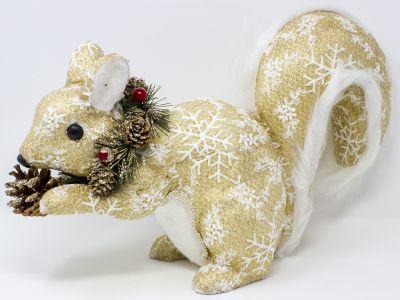 scoiattolo decorazione oro e fiocchi di neve. cm 25x11x18