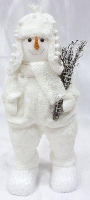 pupazzo di neve bianco con sciarpa capello e vestiti  18x17x50 cm