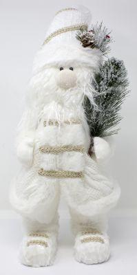 Babbo Natale in bianco con sciarpa e vestiti in cotone con alberino