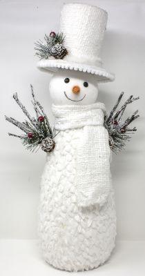 pupazzo di neve bianco con vestito 52 cm