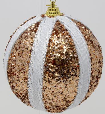 set 6 sfere 8 cm colore rame glitter con fasce bianchi verticali