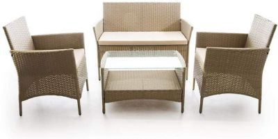Set Caprera tortora/ecru divano due posti, 2 poltrone e tavolo con piano in vetro