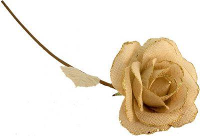 ROSA CREMA IN JUTA CON 2 FOGLIE 20XH60 cm