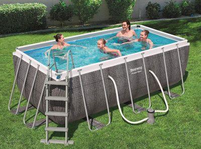Bestway piscina fuori terra 412x201x122 rettangolare in rattan power steel marrone