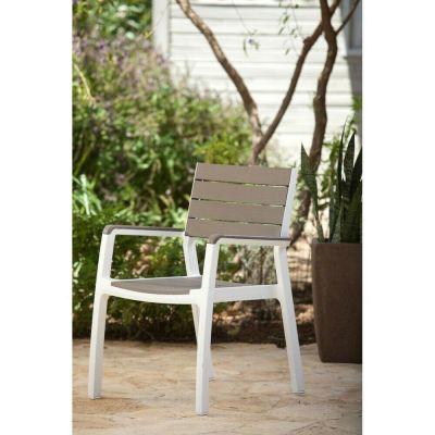 Poltrona sedia  bar giardino effetto legno bianco e grigio resina sedie giardino arredo esterno
