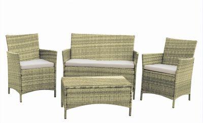 Set salotto da giardino in polyrattan naturale composto da 4 pz : tavolino, divano e due poltrone arredo esterno