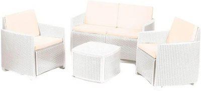 Set salotto da giardino Etna in rattan bianco composto da 4 pezzi arredamento esterno divano poltrone e tavolino