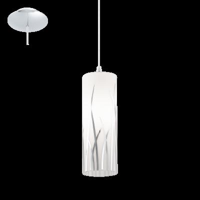 EGLO LAMPADA A SOSPENSIONE IN ACCIAIO CROMATO E VETRO LACCATO DA 9cm