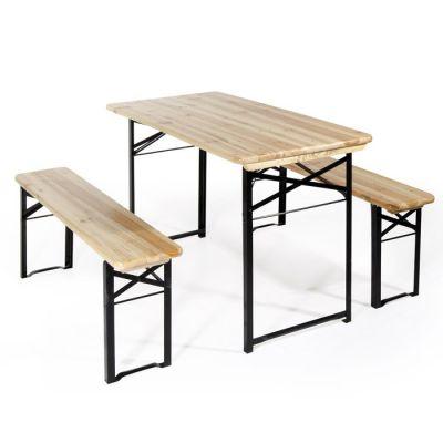 Tavolo e due panche set birreria pieghevole 200x80x74 cm