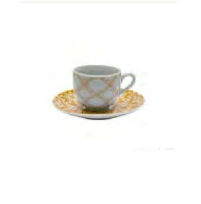 6 TAZZE/TAZZINE DA CAFFE' CON PIATTINO TEMA NATALE BIANCO E ORO