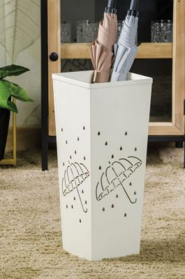 Portaombrelli in metallo bianco traforato con disegno ombrello