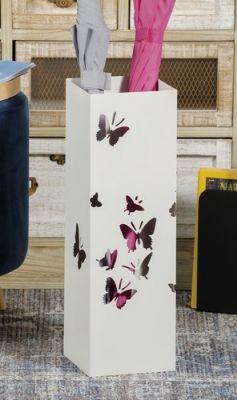 Portaombrelli in ferro bianco traforato con disegno farfalle