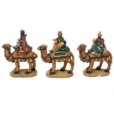 Statuine in resina 10 cm 3 Re Magi sul cammello con base di appoggio