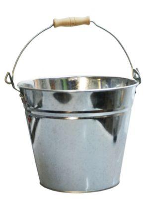 Secchio zincato litri 12 con impugnatura in legno