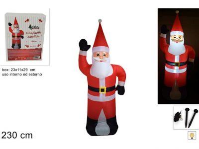 Babbo Natale gonfiabile gigante 230cm con luci a led all'interno per uso esterno o interno