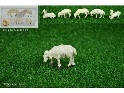 set 5 pecorelle per presepe pecore in diversi modelli in pvc bianche