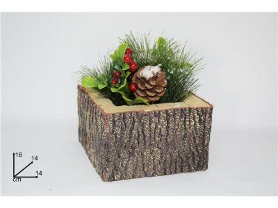 pianta di natale innevata con vaso a forma di tronco quadrato con bacche e pigne 16 cm