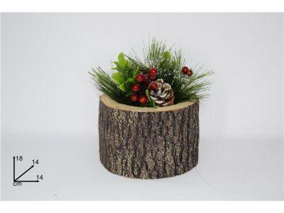 pianta natalizia innevata con vaso tronco tondo con pigne e bacche 18 cm