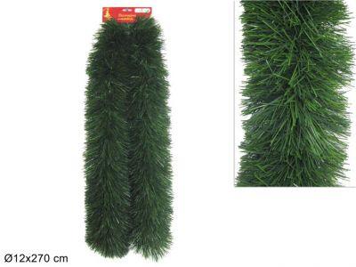 Ghirlanda di natale per addobbi verde folta 270 cm