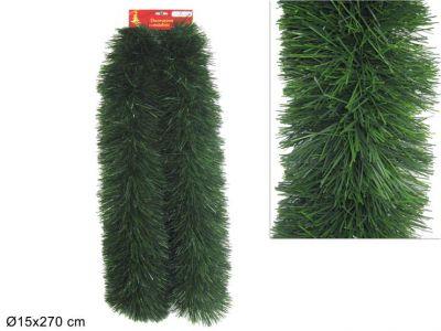 Ghirlanda verde artificiale per decorazioni natalizie 270 cm