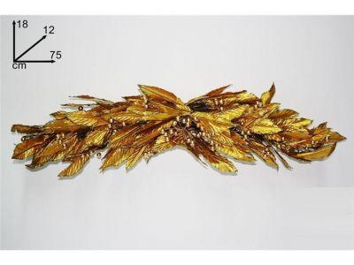 dietro porta foglie colore oro 75 cm addobbi natalizi