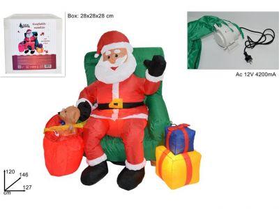 Babbo Natale gonfiabile su poltrona con regali 28x28cm