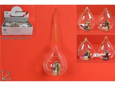 ampolla Nativita' dentro palla di vetro con appoggio o appendino