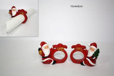 porta tovagliolo Babbo Natale in ceramica 4cm