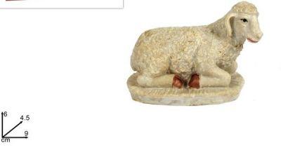 Pecora pecorella seduta 9 cm statuina per presepe con base di appoggio