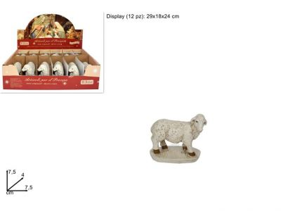 pecora  pecorella per presepe in posizione alzata bianca 7,5cm in resina