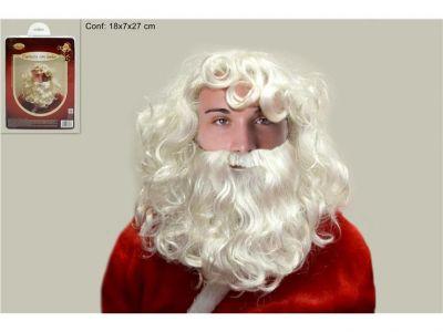 Parrucca e barba di Babbo Natale folta bianca per adulti 30CM