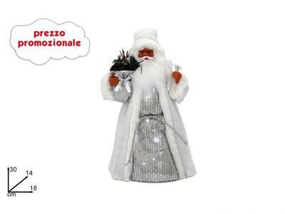 Babbo Natale puntale 30 cm con vestito bianco e argento
