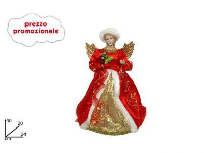 Angelo Puntale per albero di Natale Rosso 30cm in tessuto