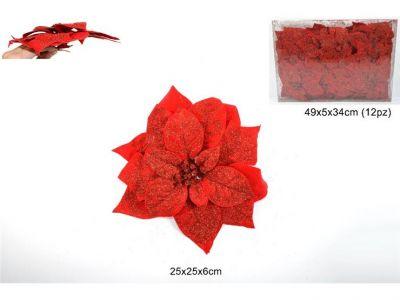 Pinzetta stella di Natale rossa glitterata 25 cm per addobbi albero e decorazioni