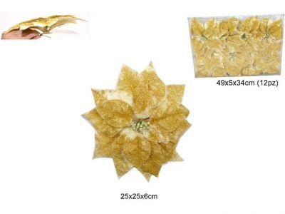 stella di Natale colore oro  pinzettata addobbo per albero o decorazioni 25cm