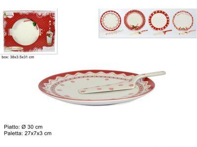 Piatto portata con paletta in ceramica 30 cm con decorazione Natalizia