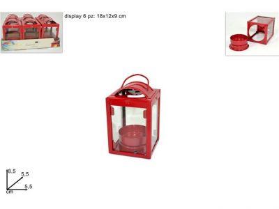 lanterna porta candela rossa 8,5cm