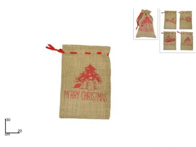 sacchetto juta con scritta Merry Christmas 30cm