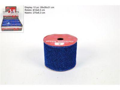 nastro blu glitterato per varie decorazioni e addobbi 270cmx6,3