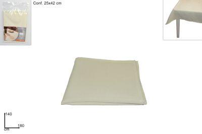 Tovaglia beige effetto lino 140 cm
