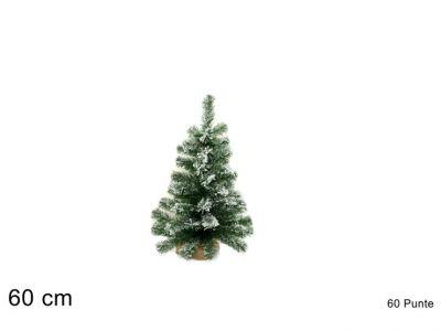 albero di Natale innevato piccolo alberello base in juta 90 cm