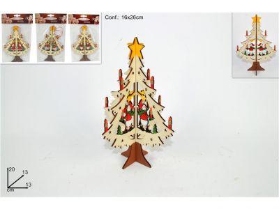 albero in legno decuopage appendino in 3D 20 cm