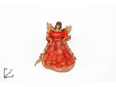 angelo con le ali puntale per albero di natale rosso 30 cm  in tessuto